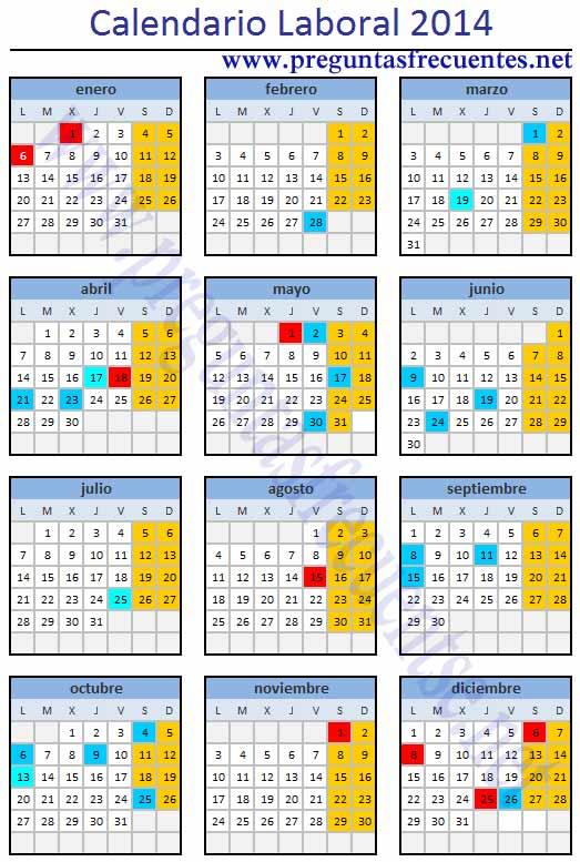 Calendario de fiestas 2014 calendario laboral 2014 for Calendario eventos madrid