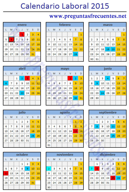 Calendario de fiestas laboral del 2015 preguntas for Calendario eventos madrid