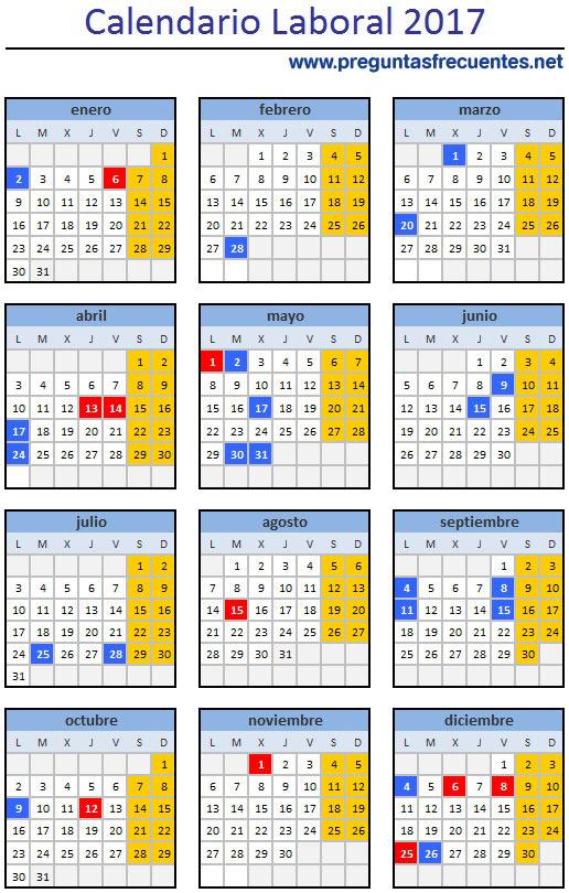 Calendario laboral 2017 festivos y puentes que nos for Calendario eventos madrid