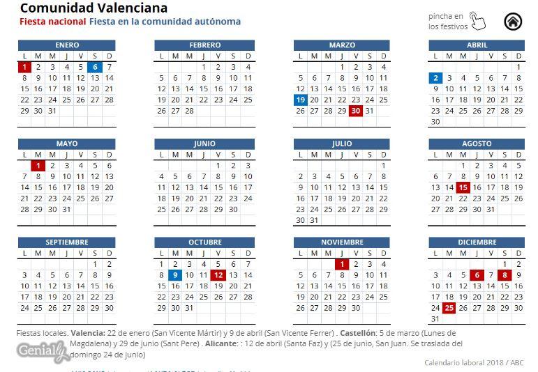 Calendario Laboral 2019 Valladolid Pdf.Comunidad Valenciana Administracion General De Las